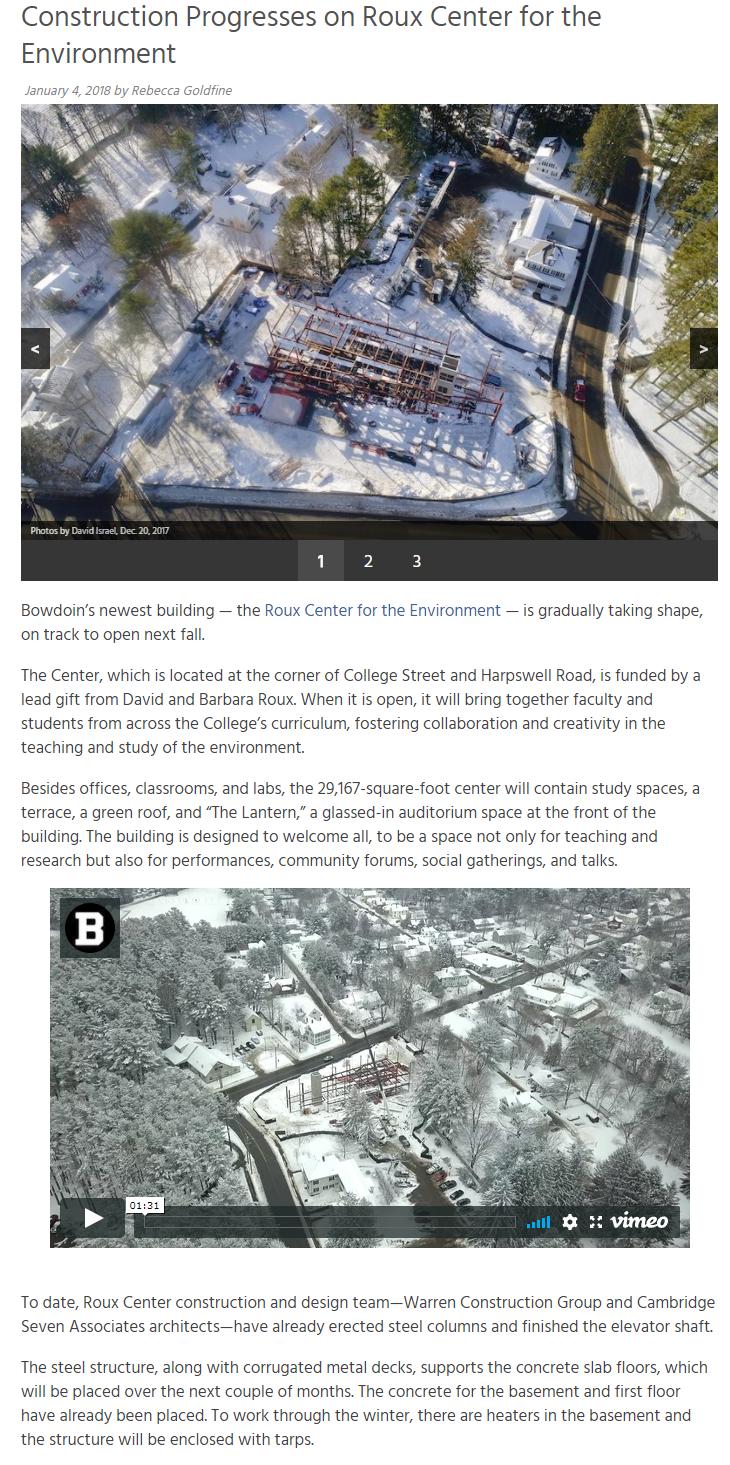 Construction Progresses at Bowdoin College
