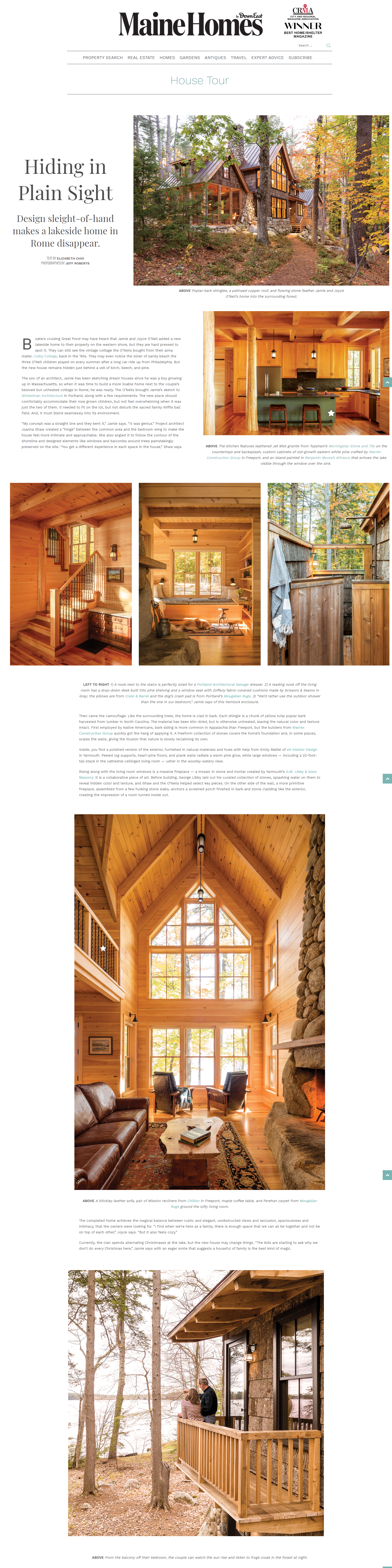 DownEast Magazine Rome House Article
