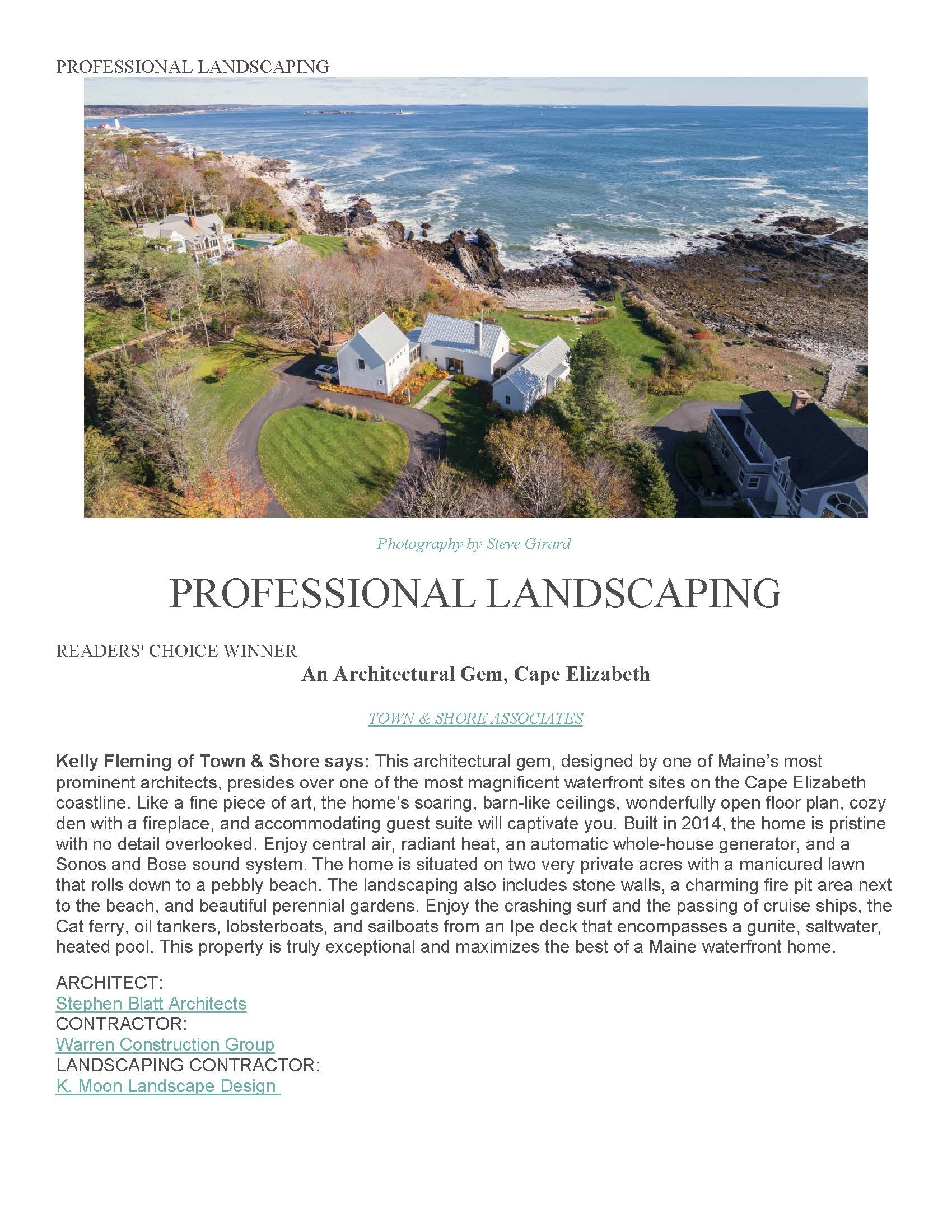 Cape Elizabeth house readers choice professional landscaping award