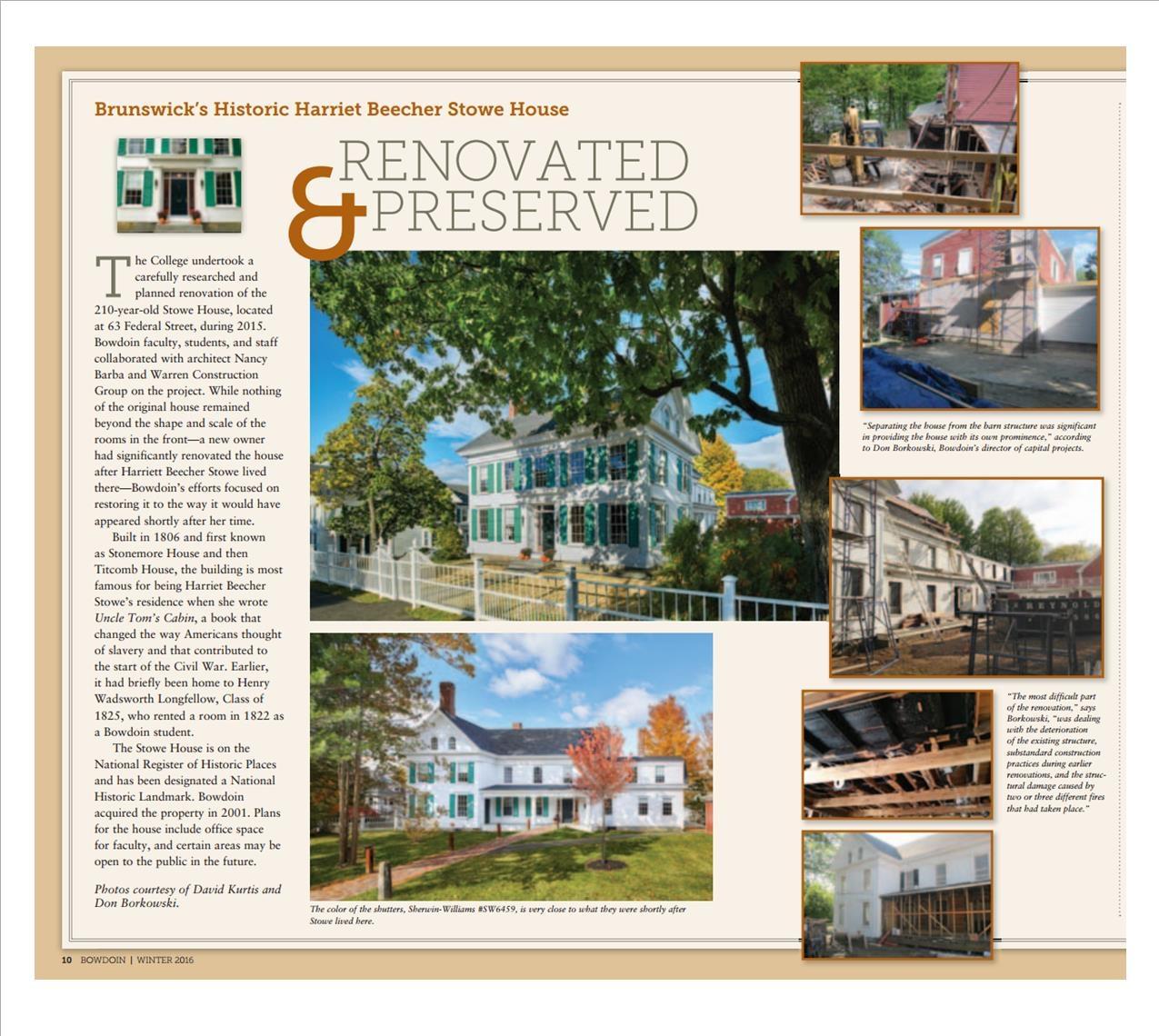 Stowe House - Bowdoin College Magazine
