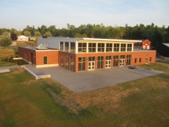 aerial shot of dining hall