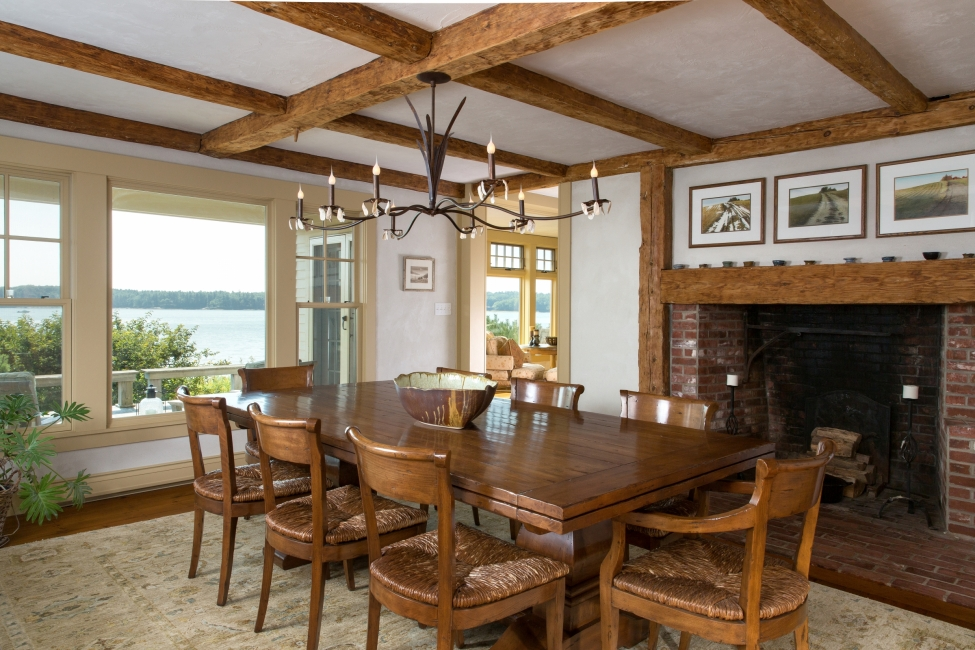 Post and Beam ceiling, Plaster walls, Dining room, Brick Fireplace