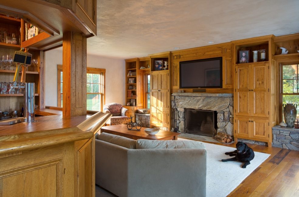 English style oak bar, Stone Fireplace, Oak cabinetry, Allagash Beer on Tap, Plaster ceiling
