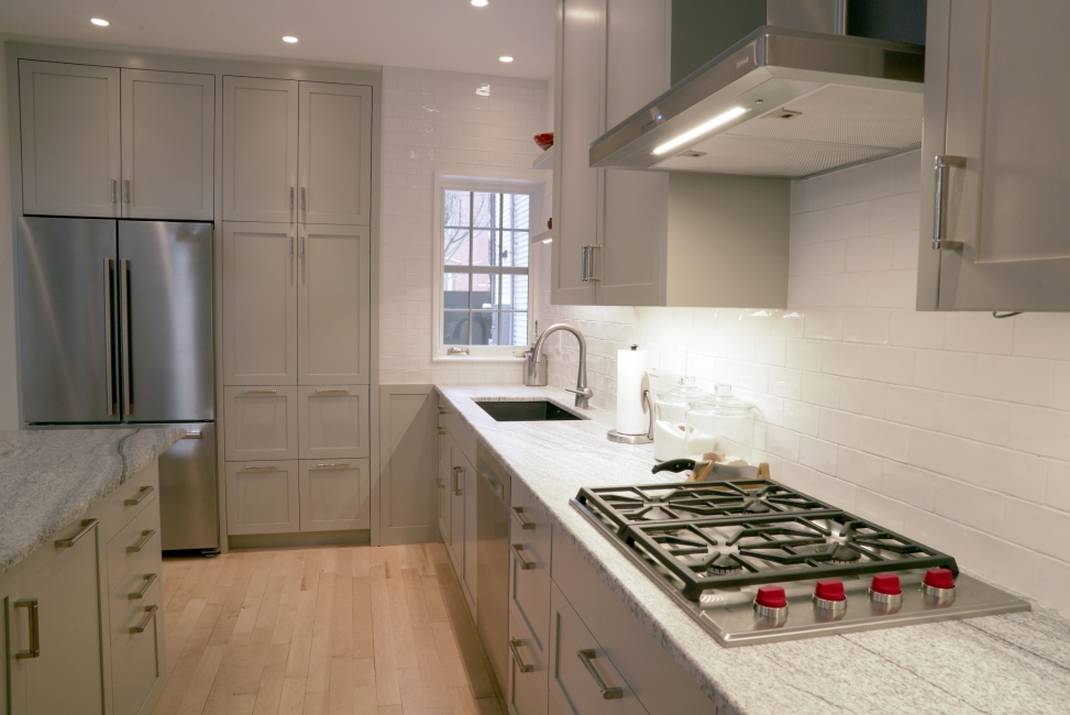 kitchen counter top with gas burner and hood