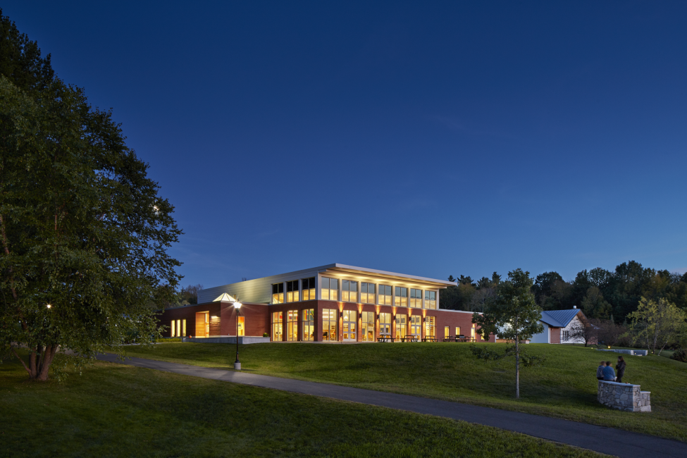 Night Photo of Dining Facility, Kents Hill School