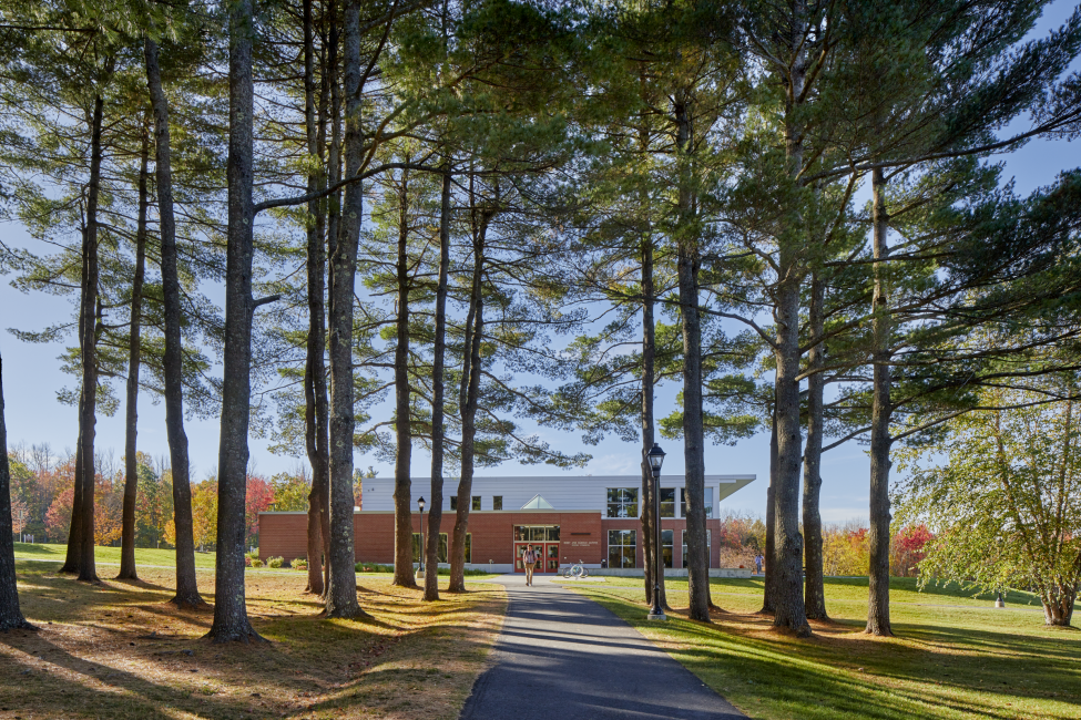 Approach to Dining Facility, through the Pines, Kents Hill School