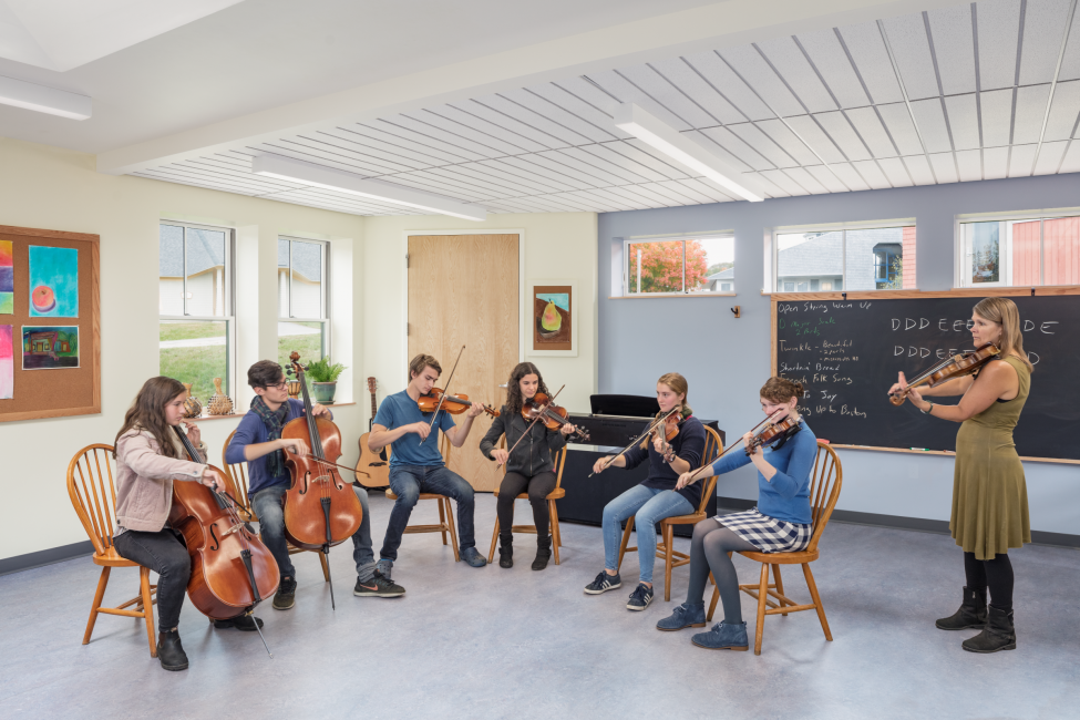 Music classroom, music lesson, Maine Coast Waldorf School Community Hall