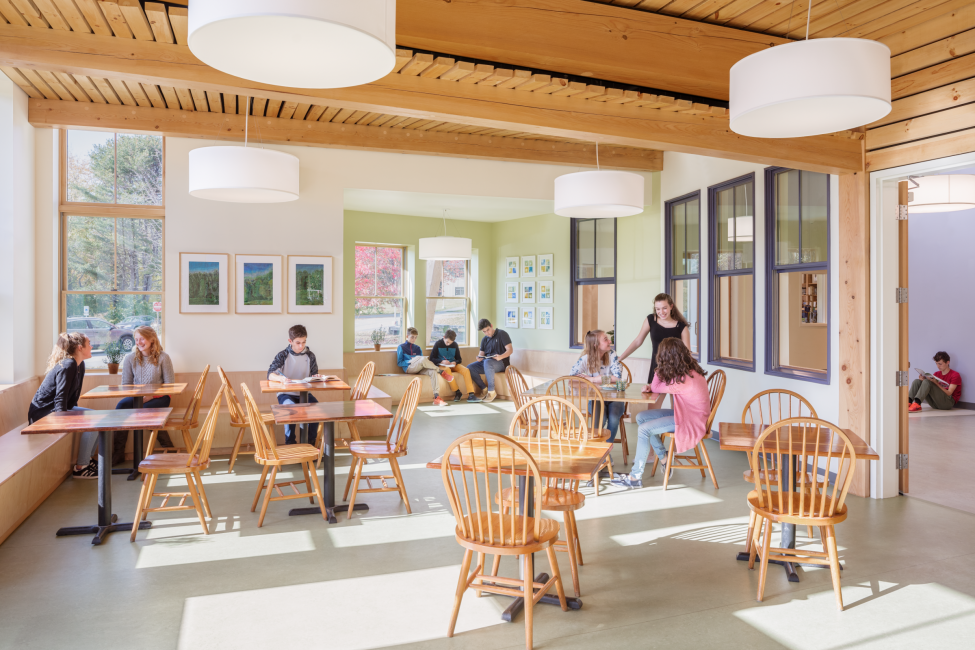 Class room, cafe, students interacting, post and beam ceiling, Maine Coast Waldorf School Community Hall