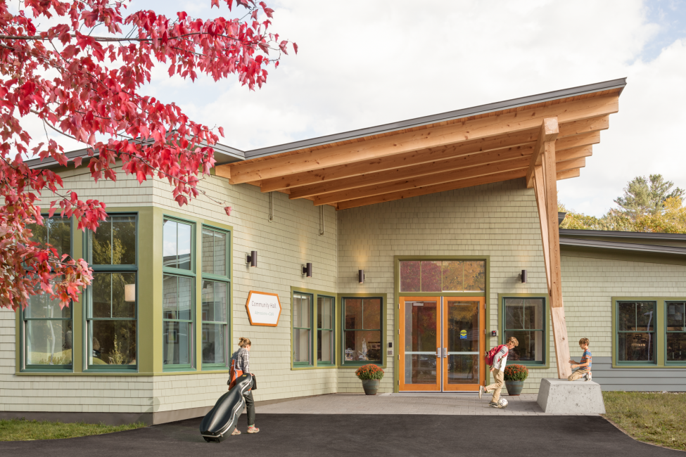 Post and beam entrance to Maine Coast Waldorf School Community Hall