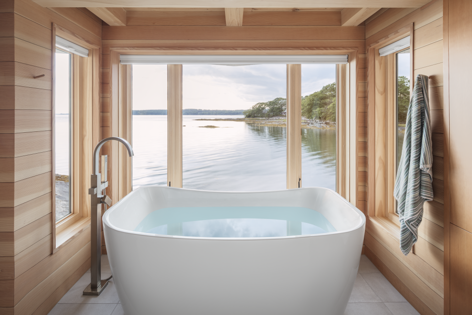 Bathtub looking out over water