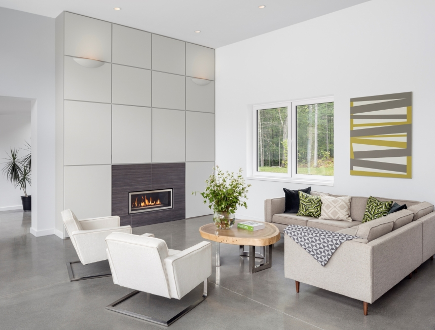 Polished concrete floor, living room, Gas fireplace