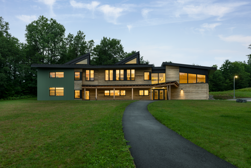 Combination of Wood and Metal Siding, Multiple Roof lines, Maine Coast Waldorf School