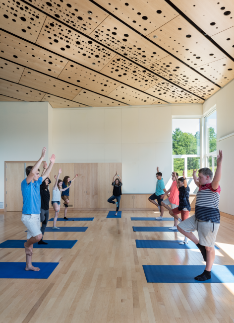 Yoga Class, Great Room, Custom Wood Ceiling Panels, Maine Coast Waldorf School