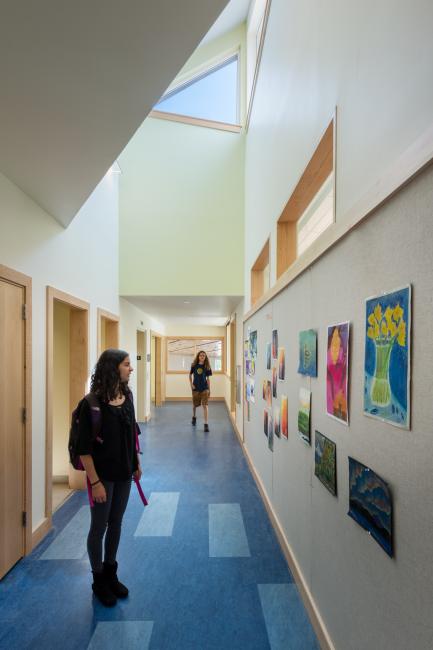 School Hallway. Vaulted Ceiling
