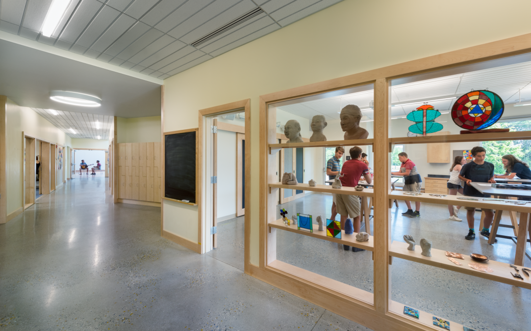School Hallway and Lockers, Door and Window Trim Detail, Art Classroom, Maine Coast Waldorf School