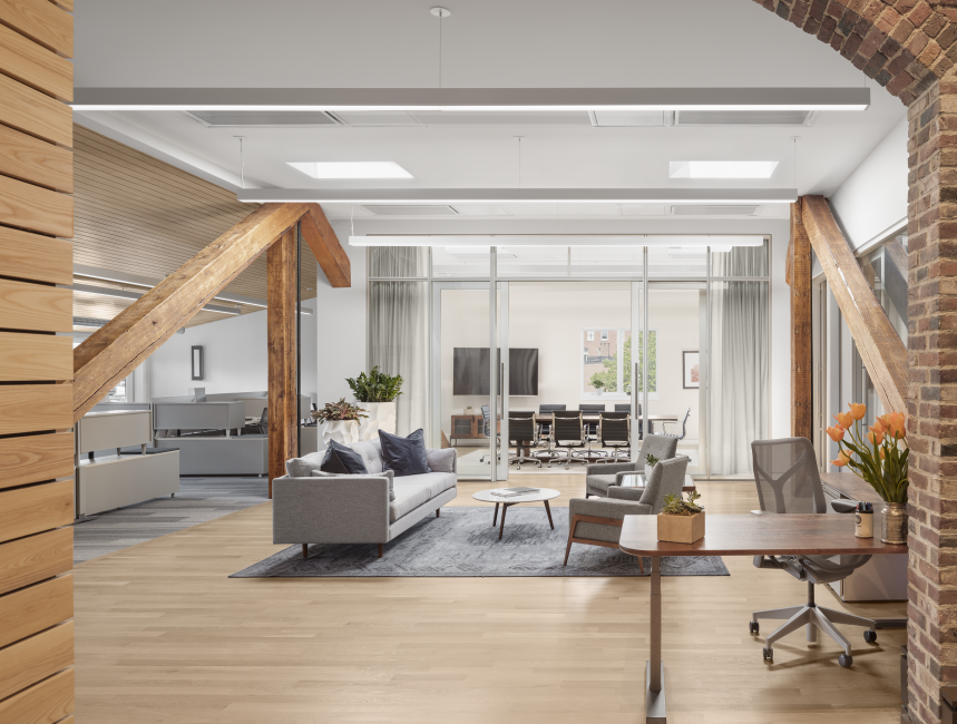 Office conference room, large glass walls, office, exposed wood beams