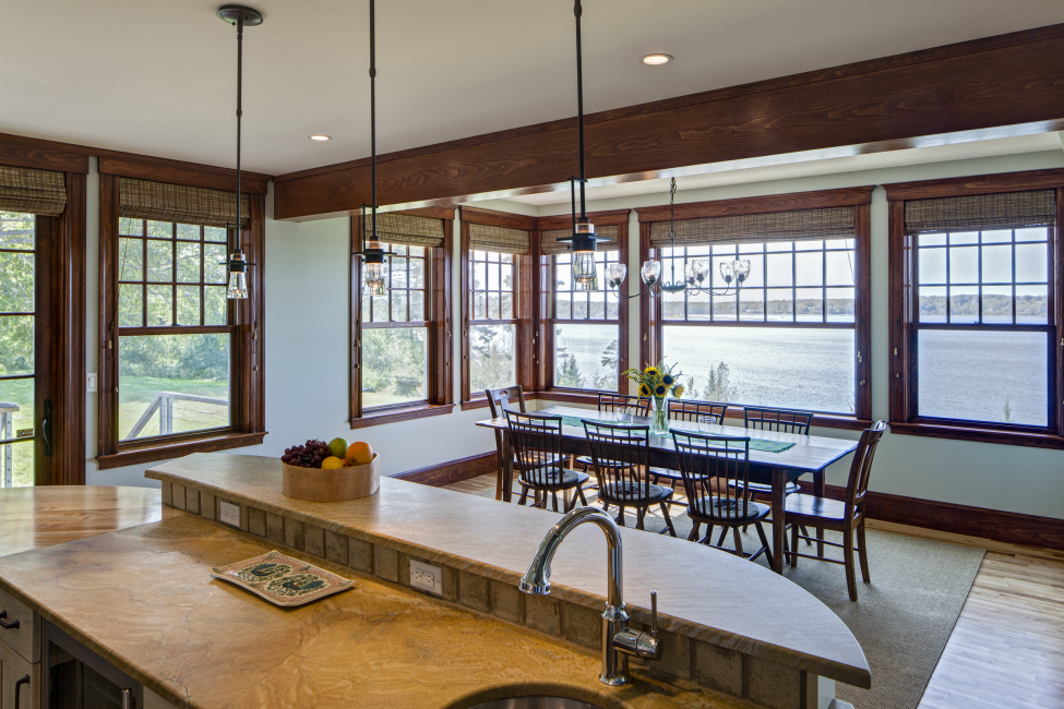 kitchen wet bar, dinning table water views