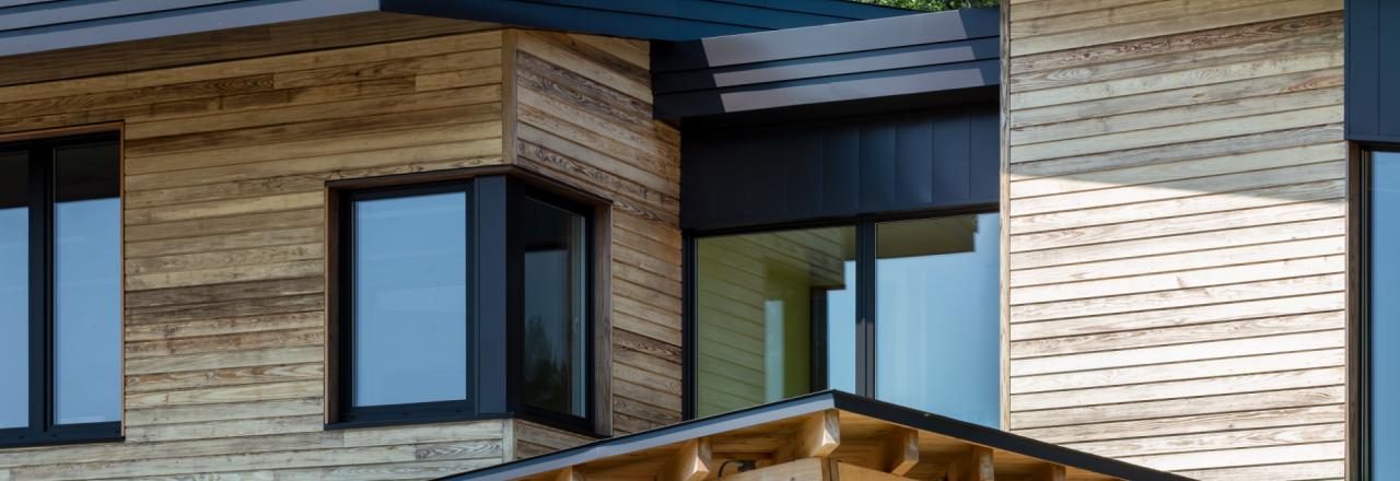 Beam Framed Entrance, Wood siding, Metal Roof, Converging & Dynamic Roof lines, Maine Coast Waldorf School