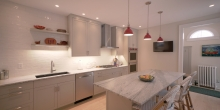 Kitchen redesign, kitchen island, white wall tiles, red lights