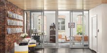 Large glass doors to office space, brick restoration, office