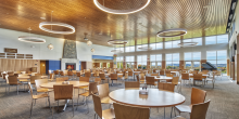 Dining Room Seating and Glass Wall Views of the Mountains of Maine, Kents Hill School