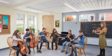 Music classroom, music lesson, Maine Coast Waldorf School Community Hall
