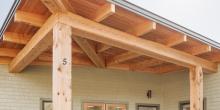 Post and beam entrance, Maine Coast Waldorf School Community Hall