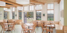 post and beam ceiling, kids playing outside, cafe, multi use room, Maine Coast Waldorf School Community Hall
