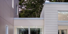Modern House, Cement panel siding, glass connector, Freeport Maine