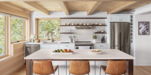 Kitchen with island counter top