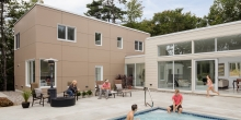 Modern House, Cement panel siding, swimming pool, Freeport Maine