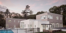 Modern House, Cement panel siding, Freeport Maine, Swimming pool