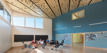 Music Lesions in Great Room, Custom Wood Panel Ceiling, Maine Coast Waldorf School, Freeport Maine