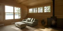 Wide pine boards, fireplace, lake view