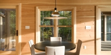 Minimal design, Wide pine boards walls, Dining room table, pendant light