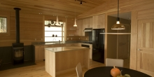 Wide pine wall boards, Pine kitchen cabinets, Zen design