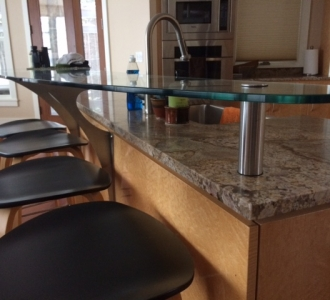 floating glass bar top